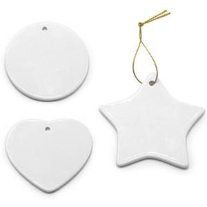 Em branco Sublimação Branco Pingente Cerâmica Criativo Enfeites De Natal Transferência De Calor Impressão DIY Ornamento De Cerâmica Coração Redondo Decoração De Natal