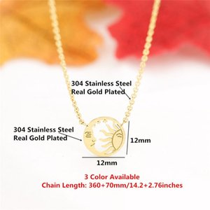 10PCS Funny Bijoux Stainless And Valentine's Necklaces Vintage Chain Moon Jewelry Steel Necklace Choker Women Gold Sun Day Wrwvs