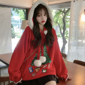 Autumn and Winter New Loose and Cute Top Christmas Hooded Fleece Padded Long Sleeve Sweater Womens Clothing Student Furry Clothes
