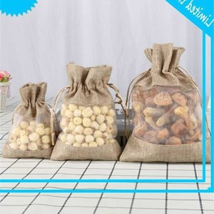 Linen Jute Organza Bag with cord For Wedding Party favours Cosmetic A69C
