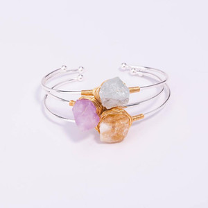 E&A Simple Style Elegant Ladies Gold Silk Wrap Nature Colorful Stone Bangle For Women Girls Fashion Jewelry Super Pretty Decor