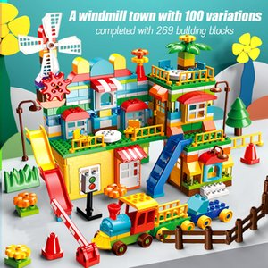 Latest Engineer Build Building Block House City Castles Compatible Slides Amusement Parks Duploed train Children Gift