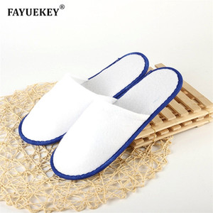 FAYUEKEY Wholesale 20 pairs Hotel Club Portable Disposable Close Toe Travel Slippers Home Guest Non-woven Fabric Slippers Shoes 201209
