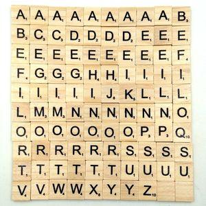 100 Pcs Set Wooden Alphabet Scrabble Tiles 18*20mm Wooden Black Letters & Numbers Children Spelling Tool Learning Toys L408