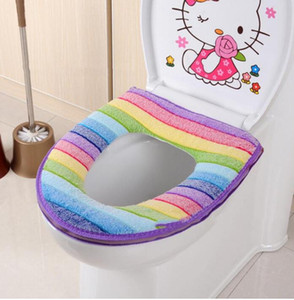 Toilet Seat Cover Pads Soft Thicken Warmer Rainbow Coral Velvet Toilet Seat Ring Cover Cushion Pads Bathroom Toilet Decoration GWB3753