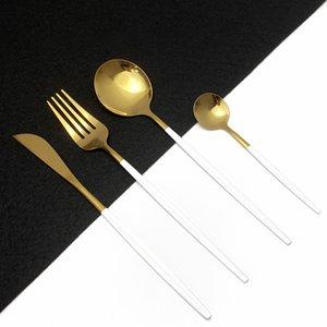 24pcs Gold Gold Cutlery Cuisine Vaisselle Vaisselle en acier inoxydable Couteau Couteau à fourche Spoon Set Lave-vaisselle Coffre-fort 201130
