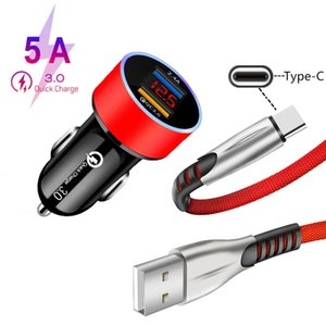 Fast Car Charger Dual USB 3.0 Quick Charge Type C USB Cable For Samsung Xiaomi Huawei Charger