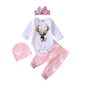 Christmas 0-2Y baby girls suits Infant Outfits Newborn Outfits baby girl clothes long sleeve rompers+PP pants+Hats+headbands 4pcs set B3070