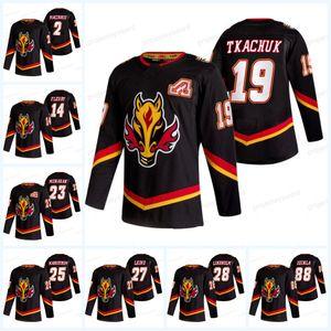 Calgary Chamas 2021 Reverse Retro Jersey Ryan Jacob Markstrom Theoren Fleury Milão Lucic Juuso Valimaki Matthew Tkachuk Christopher Tanev