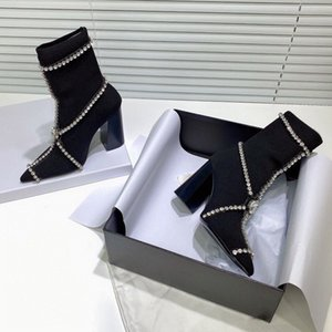 2020 autumn and winter new elastic knitted thick-heeled ultra-high heel boots fashionable diamond buckle belt all kinds of women's shoes