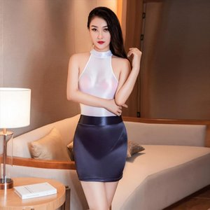 Sexy Oil Shiny OL MINI Skirt Tight Pencil Cute Skirt Gloosy See Through Candy Color Micro Mini Erotic Wear Women Sexy