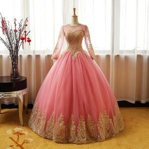 2021 Neue Prinzessin Gold Applikationen Rosa Ballkleid Quinceanera Kleider Langarm Sweet 16 Kleid Debütante Prom Party Kleid Maßgeschneidert 013