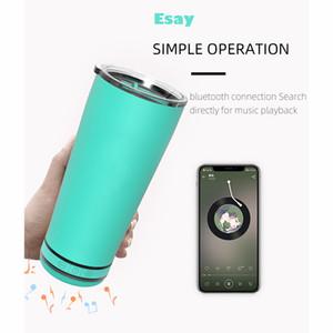 Outdoor Bluetooth Water Bottle Stainless Steel Tumblers Vacuum Mug Music Grade 6 Waterproof Speaker Bluetooth Tumblers XD24269