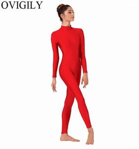 Овинвища женская изделка шеи с длинным рукавом Унитарда Блестящие спандекс Lycra Full Body Unitard Danceware Black Gymnastics Bodysuits для Mens1
