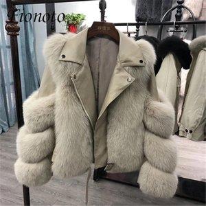 Фиото женская женская куртка 2020 зимняя мода искусственный меховой пальто кожаных женских пиджак оптовая торговля женская парки плюс размер