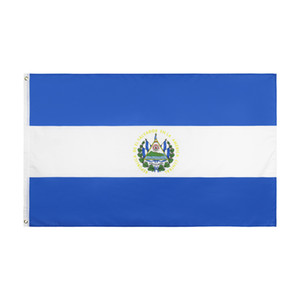 Free Shipping In Stock 3x5ft 90x150cm Hanging National El Salvador Salavadorian Patriotic Symbol Country Flag Banner for Decoration