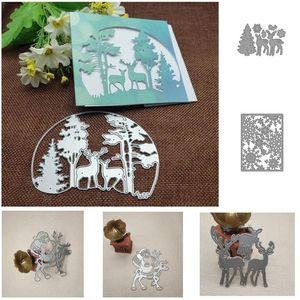 Árvore de Natal Animal Deer Quadros De Metal Corte Morre Stencils Die Cut para DIY Scrapbooking Álbum Papel Cartão Decorações de Natal HH9-3657
