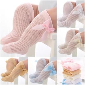 Newest INS 5 Colors Kids Girls Princess Ribbon Bows Socks Newborn Toddlers Infant Big Bow High Neck Kids Cotton Lace Ruffle Baby Socks