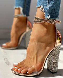 Sexy High Heels Women Pumps Gold Rhinestone Heels Ladies Shoes Classic Pumps Plus Size 35-43 Shoes Women Buckle Strap Sandals