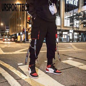 Ursporttech 힙합 리본화물 바지 남자 조깅자 바지 streetwear 남자 2020 여름 패션 탄성 허리 바지 XXXL1
