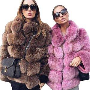 Uppin Últimas salas de invierno cálidas espesas Faux Fox Jacket Fashion Outer Outerwear Girls Plus Tize Piel Abrigo