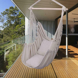 Hammock Hanging Rope Chair Swing Seat Patio Camping Wooden  w 2 Pillows Beige