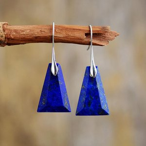 Lapis Lazuli Drop Earrings For Women Unique Trapezoid Fashion Stone Earring High Quality Elegant Bold Jewelry Gifts sqcPPq luckyhat