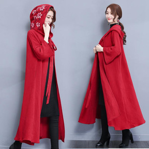2020 Large Size Spring Autumn Cloak Long Trench Coat Loose Cotton Windbreaker National Wind Female Outerwear A1524