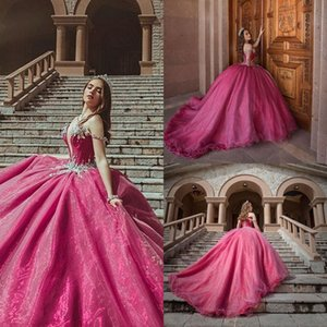 Crystal Beaded Off Shoulder Sweet 16 Quinceanera Dresses 2021 Ball Gown Princess Puff Organza Masquerade Vestidos Prom Party Dress AL8414