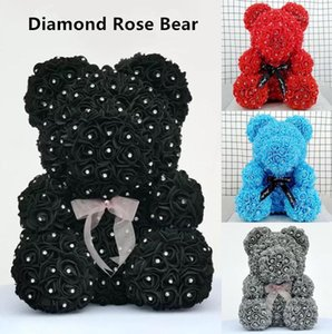 Diamond rose bear with heart artificial roses foam roses flower Diamonds bear rose Valentine's Day gifts Mother's Day1