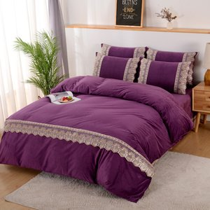 New Bedroom Four-piece Bed Linen Luxury Pure Color Lace Plus Velvet Warm Quilt Cover Fashionable Simple Family Hotel Bedding Set Y1124