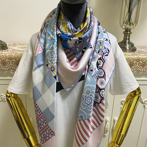 New style good quality 100% twill silk material print pattern floral square scarves shawl for women size 130cm - 130cm
