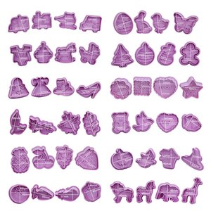 Cute biscuits Tools Press type cookie Biscuit Mould Craft DIY Cartoon plastic Decorating Manual mold Tools Set 42 M2