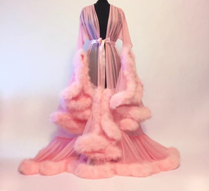 Sexy Feather Trumpet Tailed Skirt Night Gown Ostrich Bride Sleepwear Robes Long Sleeves Dressing Gown Women Sexy Pajamas Dresses