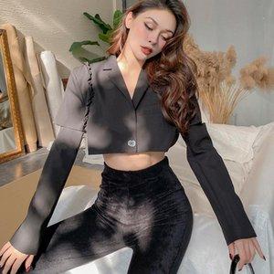 2020 Fall Jacket New Removable Sleeves Short Black Blazer Women Fashion Sexy V Neck Slim Coat Crop Top Streetwear Single Button