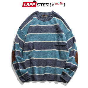 LAPPSTER-Youth Men Patchwork Vintage Striped Sweater Mens Winter Blue Sweater Pocket Women Oversized Kpop Fashiosn Clothing 201221