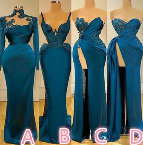 New Arrival Mermaid Evening Dresses Long Sleeves Beads Appliqued Lace Formal Prom Dresses Custom Made Chic Satin Party Pageant Dresses