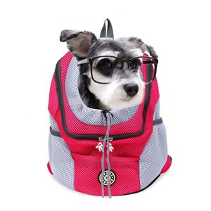 New Out Double Shoulder Portable Travel Backpack Outdoor Pet Dog Carrier Bag Pet Dog Front Bag Mesh Backpack Head