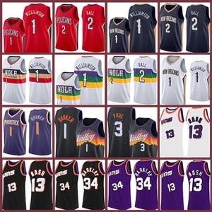 2021 جديد Zion Devin 1 Williamson Booker Steve 13 Nash Basketball Jersey Chris Lonzo 3 Paul 2 Ball Charles 34 Barkley Jerseys