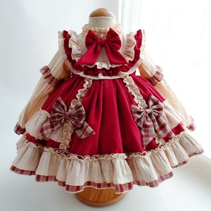 Winter Dresses Kids Girl 2020 Baby Little Girls Long Sleeve Red Vintage Lolita Princess Dress Clothes for Christmas Party