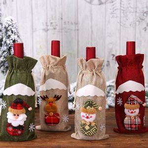 Santa Claus Gift Reindeer Snowflake Elf Christmas Wine Bottle Cover Bags Bottle Holder Xmas Home Decor GWE3131