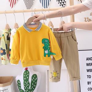Children's Autumn New Boys' Korean Dinosaur Long Sleeve Two Piece Set for Children