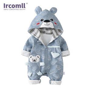 IRCOMLL infantile baby pagliaccetto in cotone imbottito addensare neonato ragazzi ragazze vestiti unisex kid tutesuits autunno cartoon orso toddler y1219