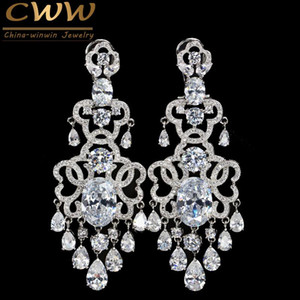 CWWZircons Quality Eneving Dress Jewelry Fully Cubic Zirconia Stones Big Dropping Wedding Long Earring for Women CZ381