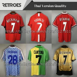 07 08 Beckham 92 93 94 18 19 02 03 12 13 Jersey de futebol retrô 100 retrô Classic Rooney Giggs Vintage Keane Short Manga Curta Retro Soccer Jersey