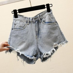 Women's Denim Shorts Women's 2020 Summer New Fashion Leisure Korean Version Hole Water Wash High Waist with Thin Edge Short Ins1