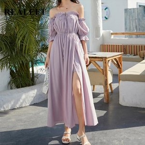 2020 New Arrivals Long Beach Dress Bohemia Sexy Off the Shoulder Bottom Split Holiday Party Summer Beach Dresses Female