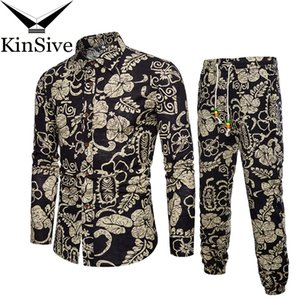 Mens Shirts Tracksuit Pants Sets Two Piece Beach Clothes Party Shirts Suit 2018 Men Streetwear Fashion Flower Printed Sweat Pant