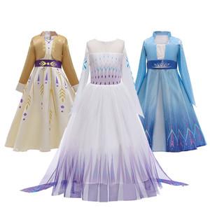 Eis-Schnee Fantasy 2 Cosplay Anna Elsa Mädchen Ineinandergreifens beiläufigen Sommer-Party-Prinzessin Dress Snow Queen Festival Aufführung Kostüm LJ200825