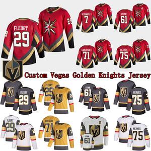 Custom Vegas Golden Knights Jersey 29 Marc-Andre Fleury 7 Pietrangelo 61 Mark Stone 67 Max Paciornetty 75 Ryan Reaves Hóquei Jerseys